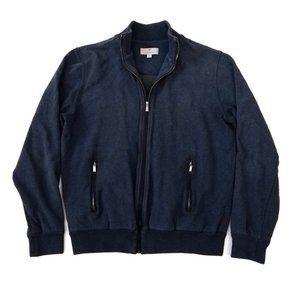 CANALI | Navy Blue Full Zip Mock Neck Sweater 40